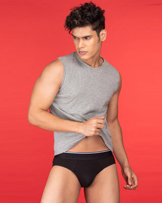 Shop Under WonderClassic Black Brief With Striped Band-Front