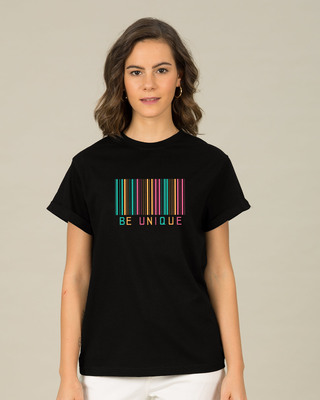 Shop Unique Barcode Boyfriend T-Shirt-Front