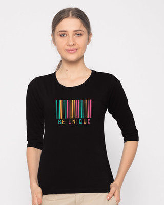 Shop Unique Barcode Round Neck 3/4th Sleeve T-Shirt-Front