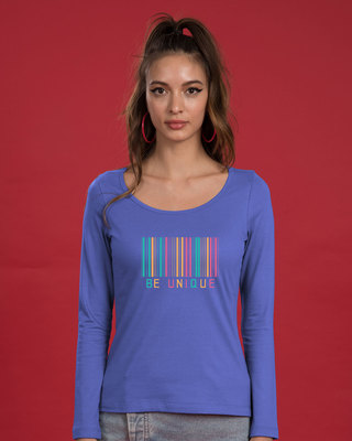 Shop Unique Barcode Scoop Neck Full Sleeve T-Shirt-Front