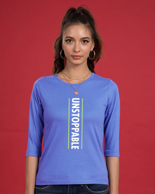 Shop Unstoppable Neon Round Neck 3/4th Sleeve T-Shirt-Front