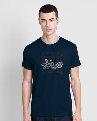 Shop Unstoppable Ridders Half Sleeve T-shirt Navy Blue-Front