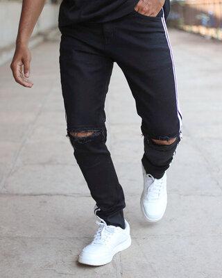 Shop Urban Estilo Black Side Stripe With Knee Zip Denim Jeans-Front