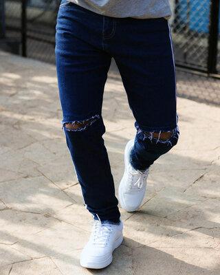 Shop Urban Estilo Dark Blue Knee Zipped Denim Jeans-Front