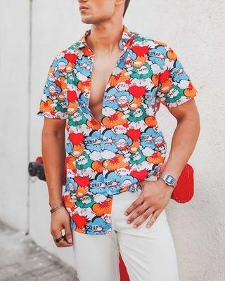 Shop Urban Estilo Multi Color Boom Snap Printed Half Sleeves Shirt-Front
