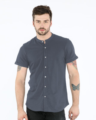 Shop Urban Grey Mandarin Collar Pique Shirt-Front
