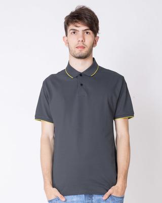 Shop Urban Grey-Neon Green Half Sleeve Tipping Pique Polo T-Shirt-Front