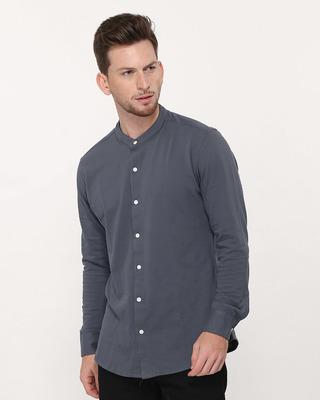 Shop Urban Grey Mandarin Collar Full Sleeve Pique Shirt-Front