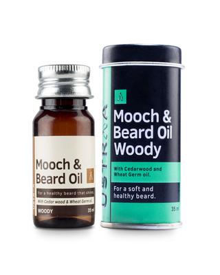 Shop Ustraa Mooch & Beard Oil - Woody (Pack of 2 x 35 ml)-Front