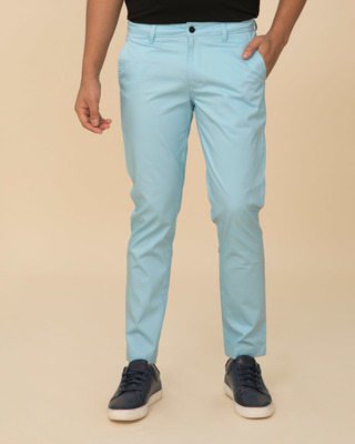 Shop Utah Sky Blue Slim Fit Cotton Chino Pants-Front