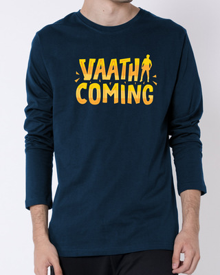 Shop Vaathi Coming Full Sleeve T-Shirt Navy Blue-Front
