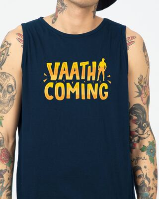 Shop Vaathi Coming Round Neck Vest Navy Blue-Front