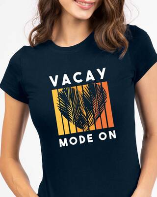 Shop Vacay Sunset Half Sleeve Printed T-Shirt Navy Blue-Front