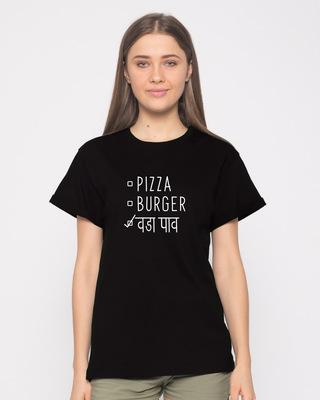 Shop Vada Pav Boyfriend T-Shirt-Front