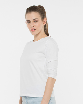 Shop White Round Neck 3/4th Sleeve T-Shirt-Front