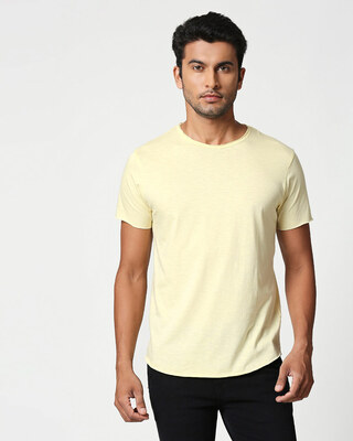 Shop Vanilla Yellow Raw Edge Slub Halfsleeve T-Shirt-Front
