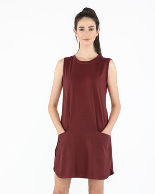 Shop Varsity Maroon Pocket Sleeveless T-Shirt Dress-Front