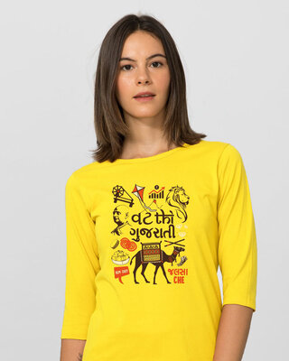 Shop Vath Thi Gujarati Round Neck 3/4 Sleeve T-Shirts Pineapple Yellow-Front