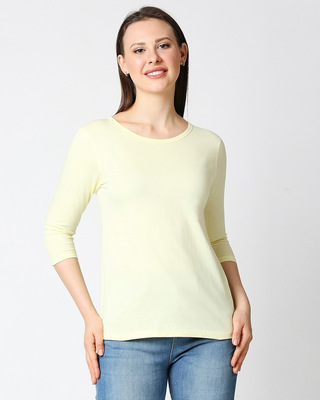 Shop Vax Yellow New 3/4 Sleeves T-Shirt-Front