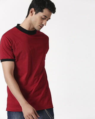 Shop Cherry Red High Neck Ringer T-Shirt-Front