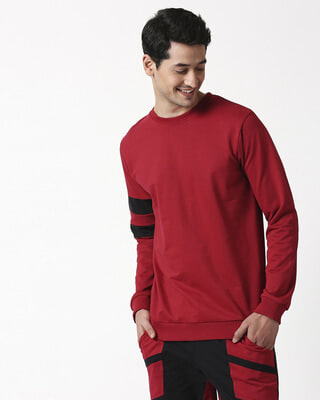 Shop Cherry Red Sports Trim Fleece Sweater-Front
