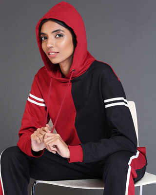 Shop Cherry Red Half & Half Hoodie-Front