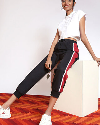 Shop Cherry Red Side Panel Joggers-Front