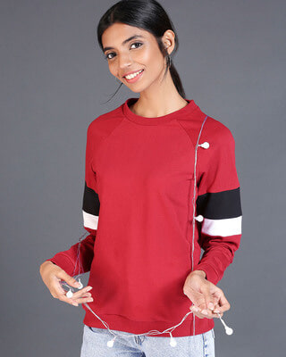 Shop Cherry Red Sports Trim Sweater-Front