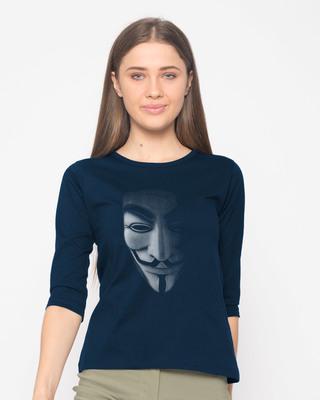 Shop Vendetta Shadows Round Neck 3/4th Sleeve T-Shirt-Front