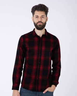 Shop Vermillion Red Checked Full Sleeve Shirt-Front