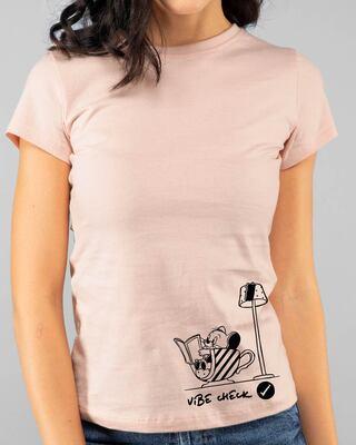 Shop Vibe Check Half Sleeve Printed T-Shirt Baby Pink (TJL)-Front