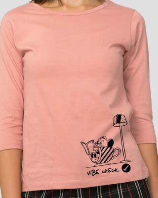 Shop Vibe Check Round Neck 3/4 Sleeve T-Shirts Misty Pink (TJL)-Front