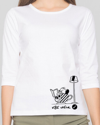 Shop Vibe Check Round Neck 3/4 Sleeve T-Shirts White (TJL)-Front