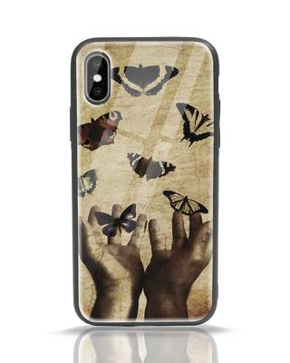 Shop Vintage Butterflies iPhone X Glass Mobile Cover-Front