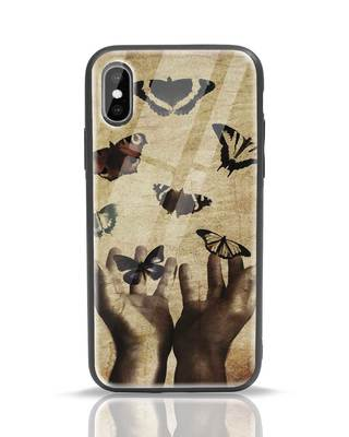 Shop Vintage Butterflies iPhone XS Glass Mobile Cover-Front