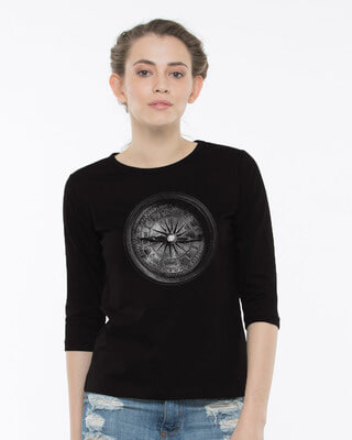 Shop Vintage Compass Round Neck 3/4th Sleeve T-Shirt-Front