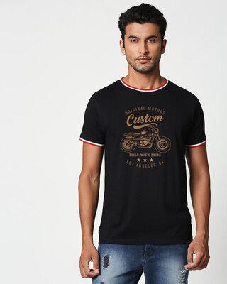 Shop Vintage Custom Crewneck Varsity Rib H/S T-Shirt Multicolors-Front