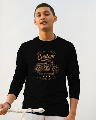 Shop Vintage Custom Full Sleeve T-Shirt Black-Front