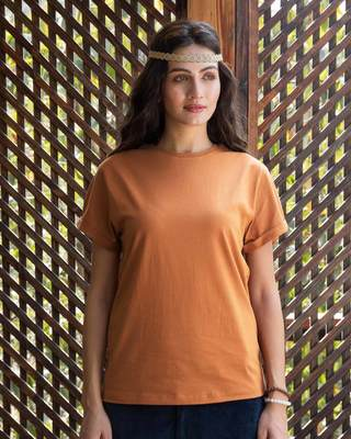 Shop Vintage Orange Boyfriend T-Shirt-Front