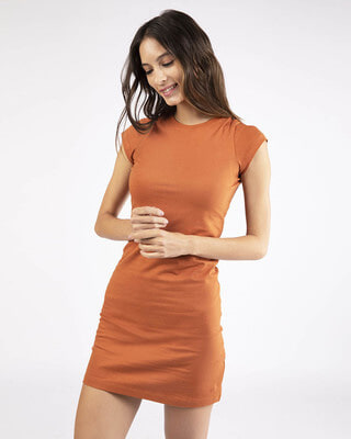 Shop Vintage Orange Cap Sleeve Plain T-Shirt Dress-Front