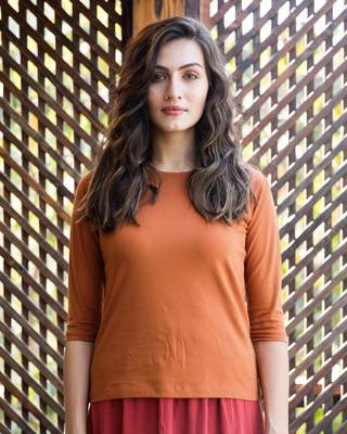 Shop Vintage Orange Round Neck 3/4th Sleeve T-Shirt-Front