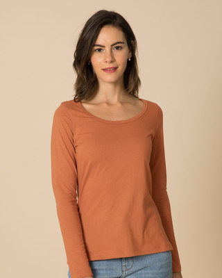 Shop Vintage Orange Scoop Neck Full Sleeve T-Shirt-Front