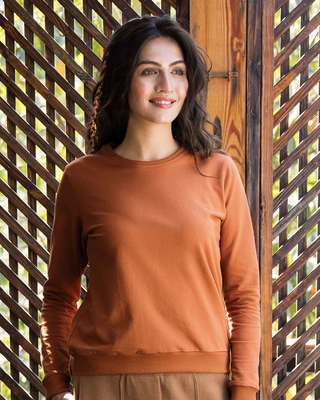 Shop Vintage Orange Fleece Light Sweatshirt-Front