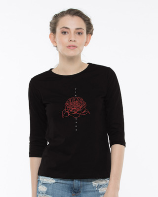 Shop Vintage Red Rose Round Neck 3/4th Sleeve T-Shirt-Front