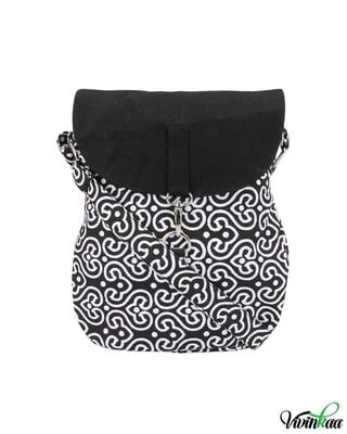 Shop Vivinkaa Black & White Printed Canvas Cross-Body-Front