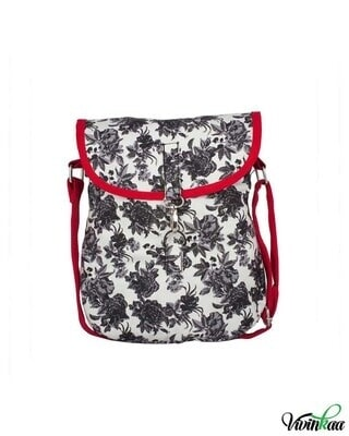 Shop Vivinkaa Black & White Rose Printed Canvas Cross-Body-Front