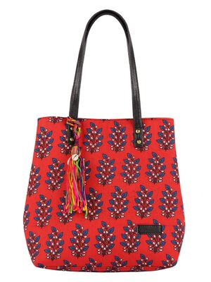Shop Vivinkaa Ethnic Faux Leather Cotton Mini Red Tote Bag-Front