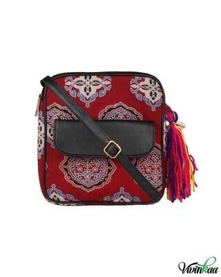Shop Vivinkaa ethnic faux leather cotton red festive flap pocket sling bag-Front