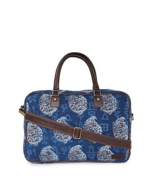 Shop Vivinkaa Ethnic Print Indigo Laptop Bag-Front