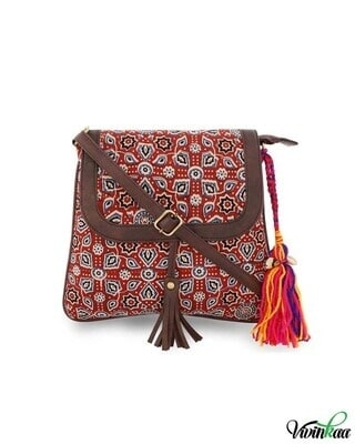Shop Vivinkaa Ethnic Print Red Sling Bag-Front